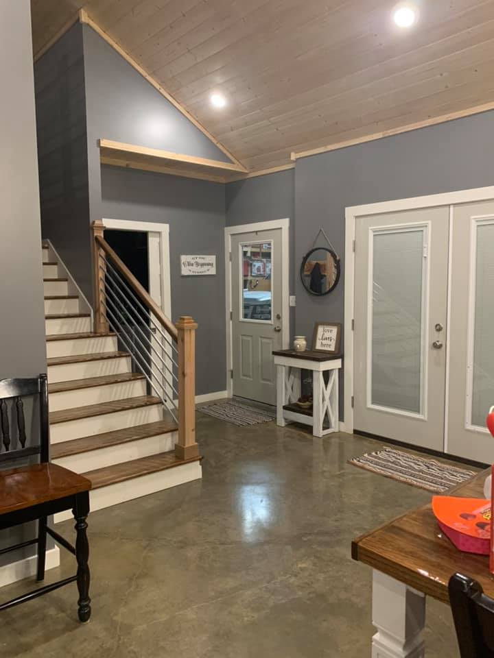 barndominium floor plans with loft stair view